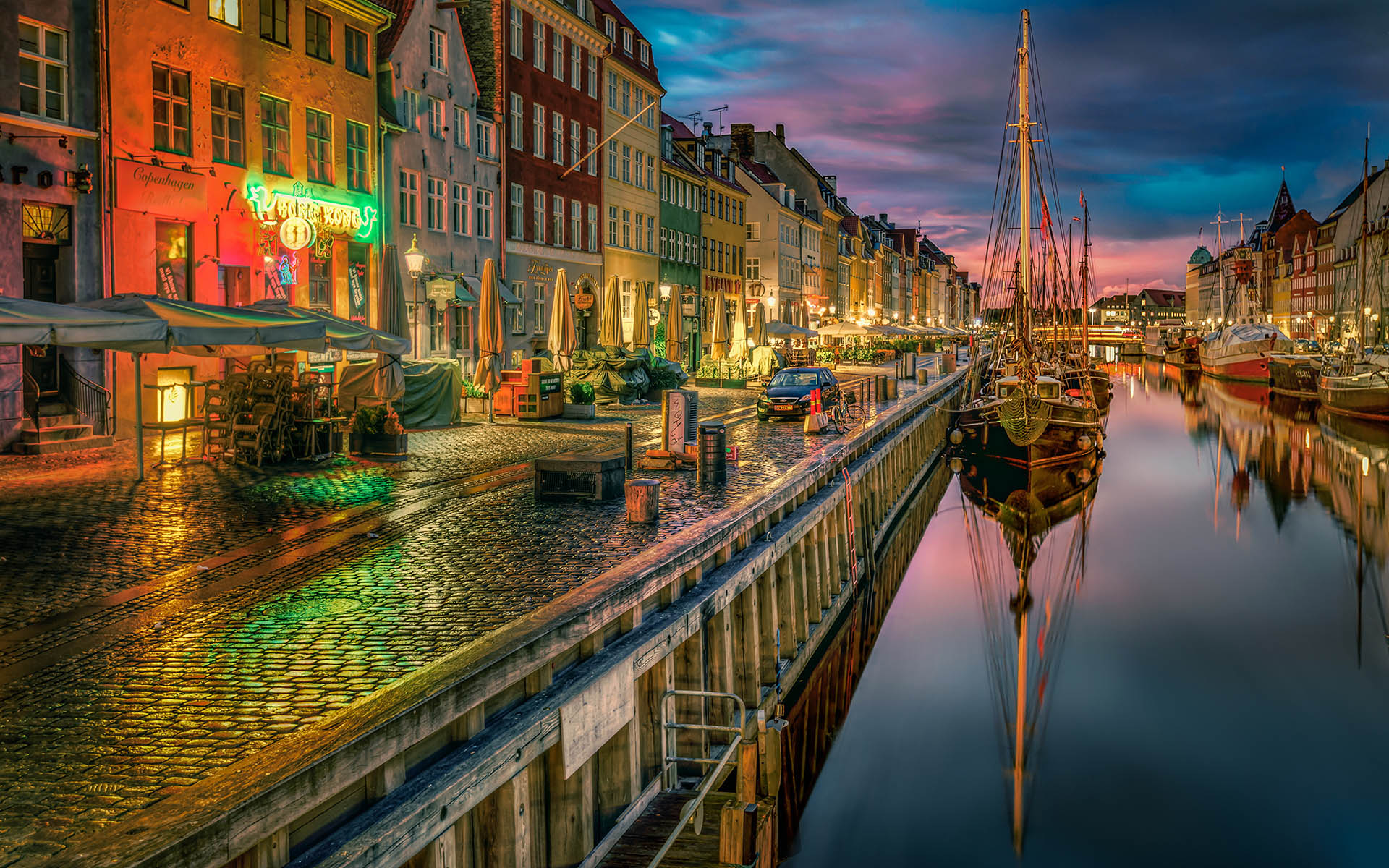 Река и корабль Дания Копенгаген